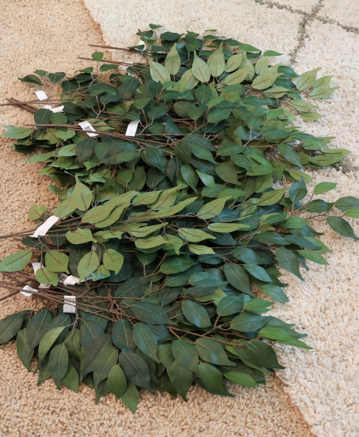 DIY faux tree supplies and leaves/branches