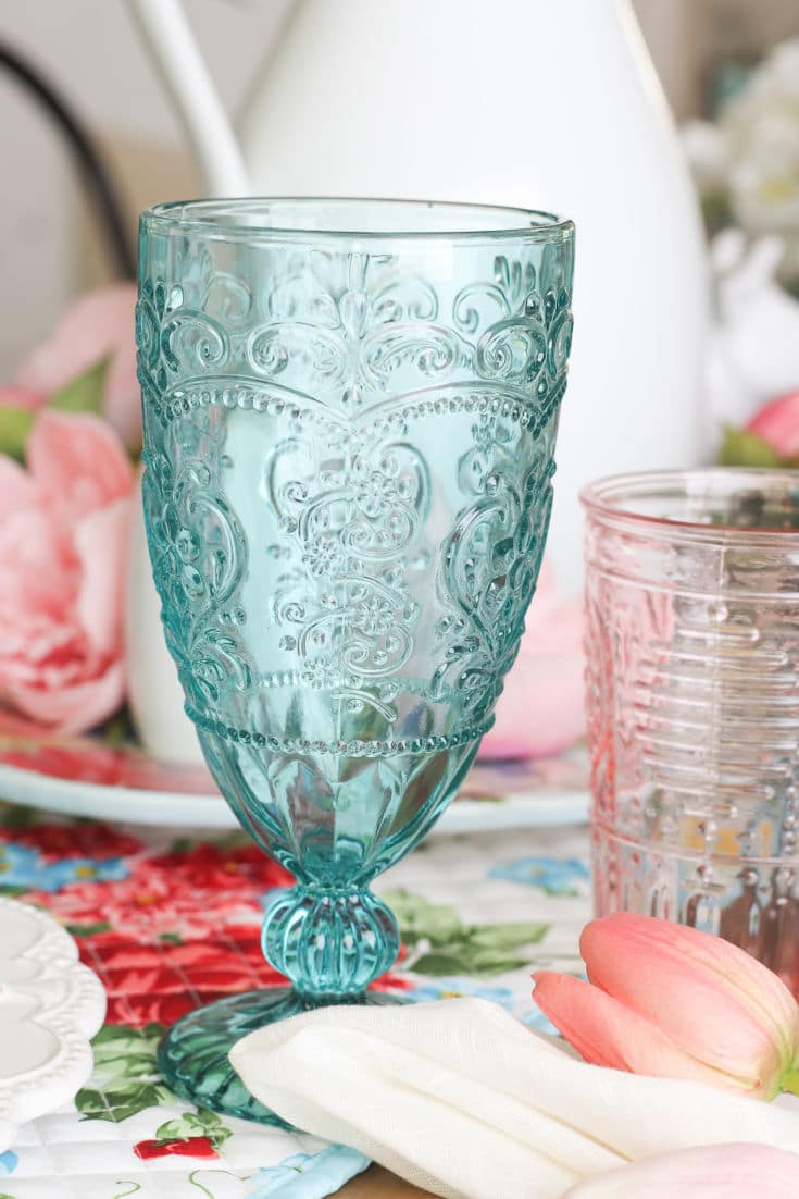 clear turqouise glass up close on budget designer tablescape
