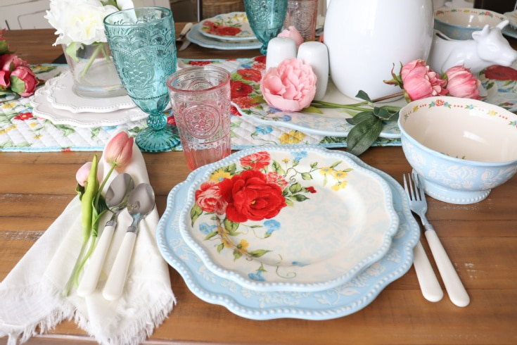 designer table setting from Walmart close up