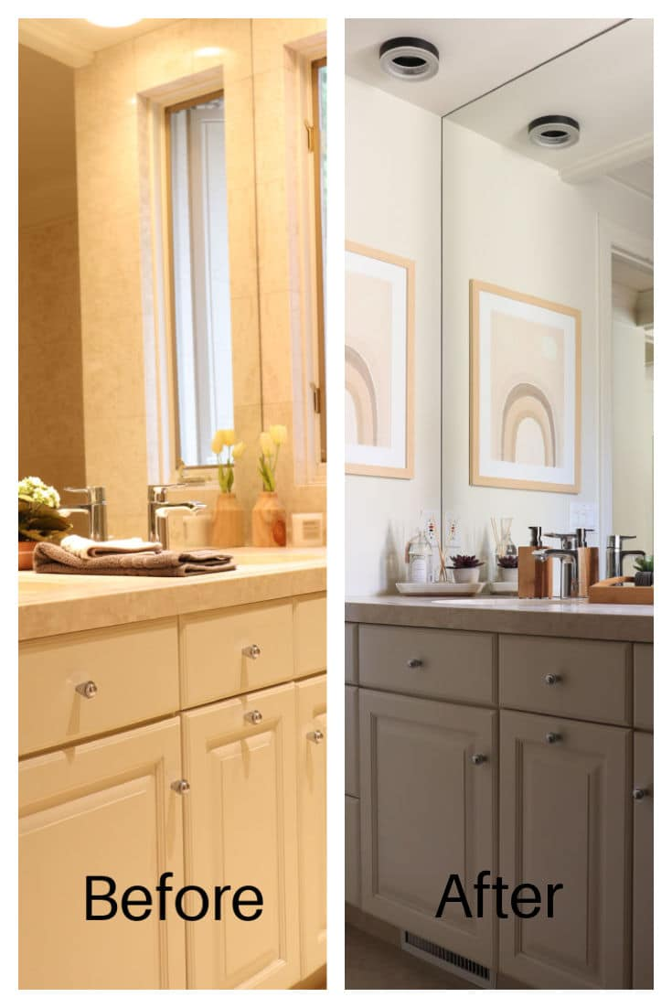 Before bathroom photo and after photo with Boho Bathroom Wall art in soft neutral colors with bamboo tray