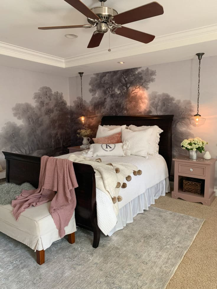 cozy blankets and pillows on master bed
