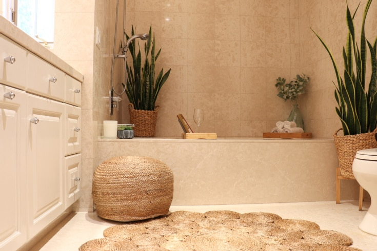 Add texture and pattern to your bathroom with easy boho decor ideas