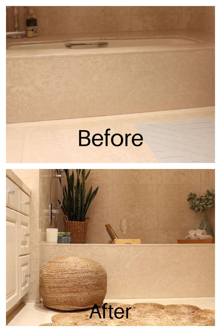 Before photo showing boring bathroom with no decor and after photo of bathroom showing more texture and detail added with boho decor