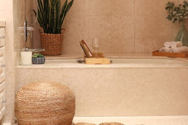 Neutral Boho Bathroom decor adds pattern and texture