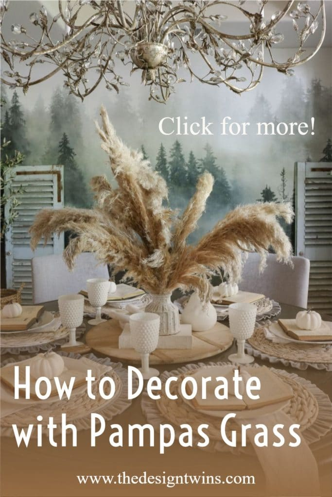 Beautiful dining room table with natural pampas grass centerpiece