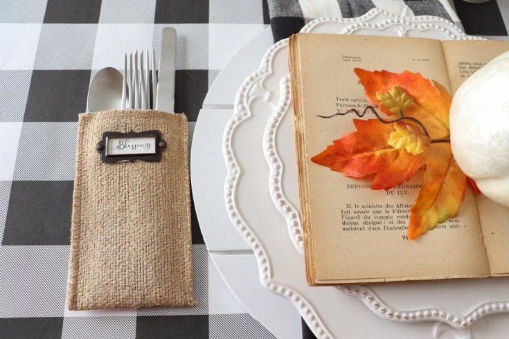 fall place setting on buffalo place table runner with natural and fall colors
