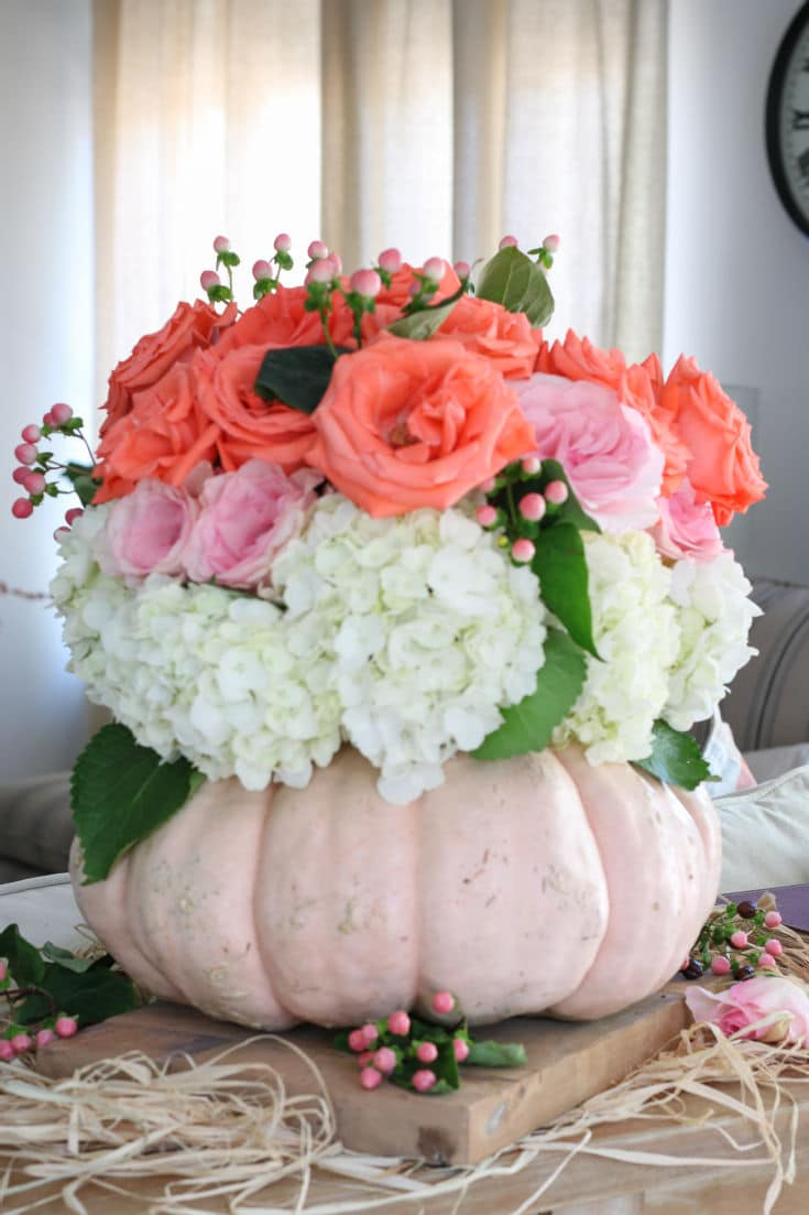 cinderella pumpkin used as a vase holds pink and coral roses and hydrangeas
