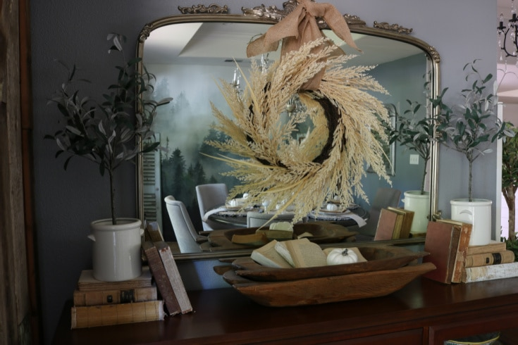 Faux wheat wreath goes with natural neutral decor