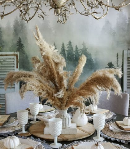 fluffy natural pampas grass centerpiece for eclectic dining room